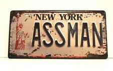 New York Assman Kramer License Plate Style Tin Sign Poster Seinfeld Inspired