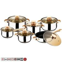 12 Pcs Stainless Steel Induction Hob Saucepan Casserole Dining Cookware Pot Set