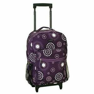Rockland Double Handle Rolling Backpack, Purple Pearl, 17-Inch