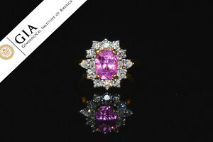 GIA Natural 3.4CT VS F Diamond Pink Sapphire 18K Solid Gold Halo Engagement Ring