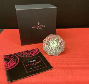 WATERFORD CRYSTAL IRELAND LISMORE DIAMOND PAPERWEIGHT CLOCK NIB
