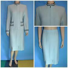 St John Collection Knit Blue Jacket Skirt XL L 12 14 2pc Suit Black Trims Zipper