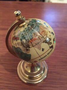 Semi-Precious Gemstone Small World Globe - Cream & Gold - 14.5cm Tall