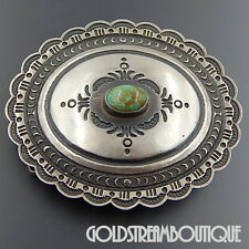 ROLAND DIXSON NAVAJO SIGNED 925 SILVER OVAL TURQUOISE ETHNIC BELT BUCKLE #3123