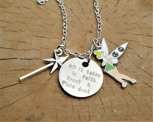 ALL IT TAKES IS FAITH TRUST & PIXIE DUST TINKERBELL FAIRY QUOTE CHARM NECKLACE