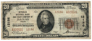 1929 $20 REPUBLIC NATIONAL BANKNOTE CURRENCY DALLAS TEXAS CIRCULATED VERY FINE