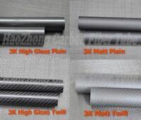 2pcs 3k Carbon Fiber Tube 20mm 22mm 24mm 25mm 26mm 27mm 28mm 29mm 30mm Tubing CA