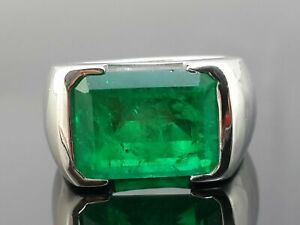 Solid Sleeping Green Emerald 925 Sterling Silver Handmade CZ Men's Ring