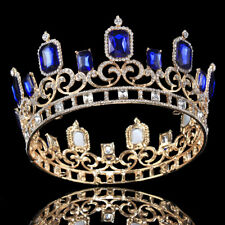 Royal Blue Crystal Diadem Crown Prom Adult King Queen Rhinestone Tiara Headband