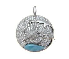GENUINE NATURAL LARIMAR HAWAIIAN SEA TURTLE CZ PENDANT SOLID 925 STERLING SILVER