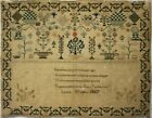 MID 19TH CENTURY UNFINISHED? MOTIF & VERSE SAMPLER BY ISABELLA WRIGHT - 1867