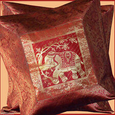 PAIR (TWO) OF SILK BROCADE PILLOW/CUSHION COVER RED COLOR FROM INDIA ! !