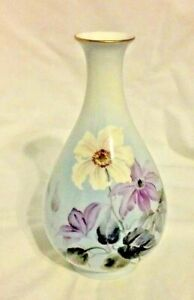 "Noritake vase signed Nippon Toki Kaisha purple floral bone china 7"" vintage EUC"