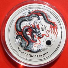 """Australien 1 Dollar 2012 Silber 1 Oz  Year of the Dragon """"Black"""" WMF #F 2501"""