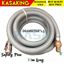 Genuine Kasa Fire Suction Water Hose With Cam Lock Brass Foot Valve 10m 1.5