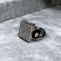 White Gold Plated Simulated Diamante Mens Ring CZ Micro Pave 3D ice out Pinky