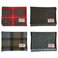 Harris Tweed Pure Wool Luxury Scarf Red, Blue Tartan, or Grey, Brown Herringbone