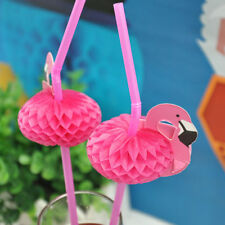20PCS Drinking Straws 3D Flamingo Pink Cocktail Plastic Umbrella Party Bar Fancy
