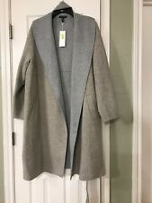 76d3470013f19 XL EILEEN FISHER OATMEAL DARK PEARL BRUSHED WOOL DOUBLEFACE SHWAL COLLAR  COAT