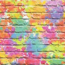 Wallpaper Muriva - Painted Brick Wall - Colourful Paint Splash - Multi L33505