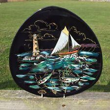 Vintage French Enamel Ceramic Triangular Plate Longwy French Sailing Boat Fish