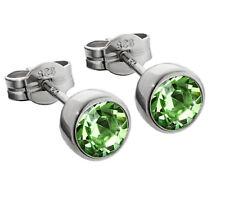 Paar Ohrstecker 925 Silber rhodiniert 5,50mm hellgrün Zirkonia Ohrringen M16