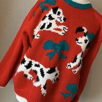 Vintage Karen Scott II Red Ugly Cute Christmas Dalmatian Sweater, Size 2X