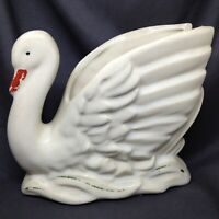 Vintage 1940's Nelson McCoy Swan Planter White Glazed Cold Painted