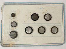 Présentoir 8 bouton ancien XIX bakélite nacre antique button 3 tailles mercerie
