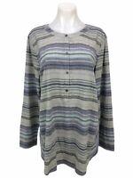 J Jill Cotton Blouse Long Sleeve Tunic Button Up Top Women's Size L