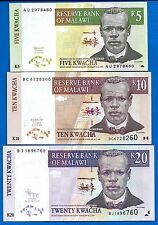 Malawi 5,10,20 Kwacha Year 1997-2009 Uncirculated Banknotes Set #2