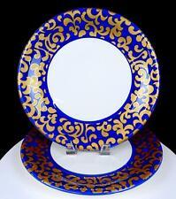 "VARM CERAMICA ITALY F GIORGI ROYAL BLUE GOLD SCROLL 2 PIECE 12"" DINNER PLATES"
