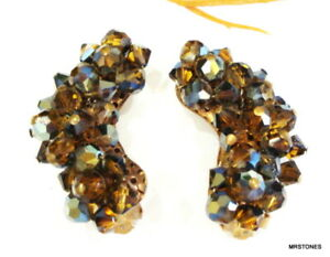 """VINTAGE UP SWEPT SMOKED TOPAZ AB GLASS CLUSTER BEAD CLIP ON EARRINGS 1.5"""""""