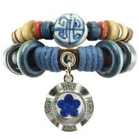 Bracelet femme homme réglable Cuir Coton Bois porcelaine fleur cristal bleu