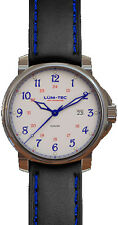 Lum-Tec Watch - RR1 - 43mm Automatic Mens Black & Blue w/Leather Strap