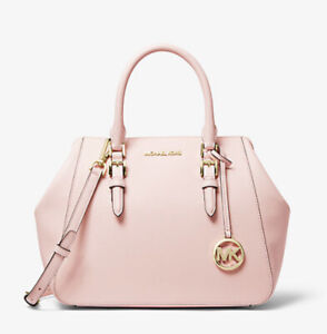 Michael Kors Charlotte Lg Convertible Satchel Powder Blush Pink  $448 Leather