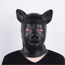 Unisex Latex Pig Hood with Eyes open Zipper Closure Hood Black