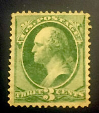 US SCOTT #158 1873 GREEN 3 CENT GEORGE WASHINGTON STAMP-MINT NO GUM-VF CONDITION
