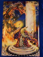 Merlin Wizard & Fire Dragon Fantasy Mythical Magic Spell 24X36 Poster Print Merl