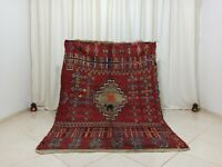 Handmade  Vintage Tribal Moroccan Rug 4'8''x6'7'' Geometric Red Wool Berber Rug