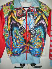 Women's Ed Hardy Multi Color Zip Front Mesh-Lined Track Jacket Size Medium