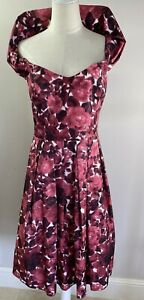 Moss & Spy - Red Floral Dress - Size 14 - Preowned - Stunning