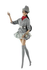 6in1 Set Fashion Outfit Gray Jacket+vest+belt+sock+bag+hat for 11.5 in. Doll