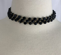 Triple Strand Black Glass Bead Choker Necklace Vintage Faceted Beaded Gold Tone