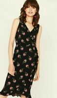 ex-Oasis Wrap Frilled Summer Dress with ties Sleeveless Black/Pink Ditsy Floral