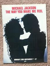 MICHAEL JACKSON - THE WAY YOU MAKE ME FEEL 1987 Full page UK magazine ad