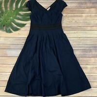 eShakti Cap Sleeve Dress Size S 4 Navy Blue Fit Flare Knee Length Pockets Solid