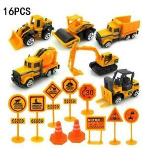 16PCS Kids Mini Metal Construction Car Truck Model Gift Set Exca. Toy I9A7