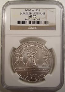 2010-W $1 DISABLED VETERANS UNC. SILVER DOLLAR NGC MS 70 GEM