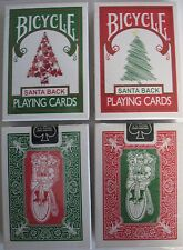Rare 2 Deck Bicycle Santa Maiden Back Playing Cards 1 Red 1 Green xmas claus